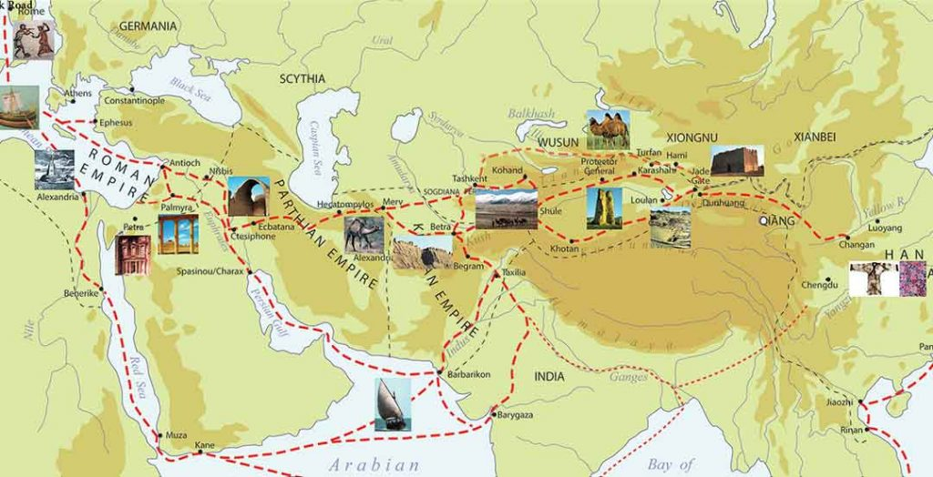 Marco Polo path, Silk Road and Attractions on it